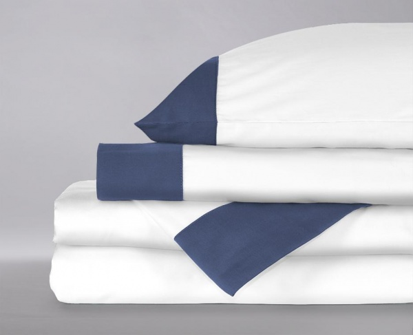 Sol Organix Banded navy blue organic sheet set