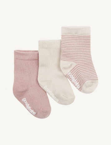 boody 3_Pairs_of_Socks_Chalk_Rose_Stripe