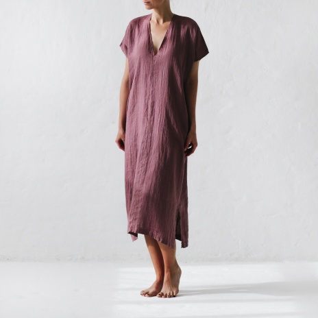 Seaside Tones Linen V Neck Dress Mauve
