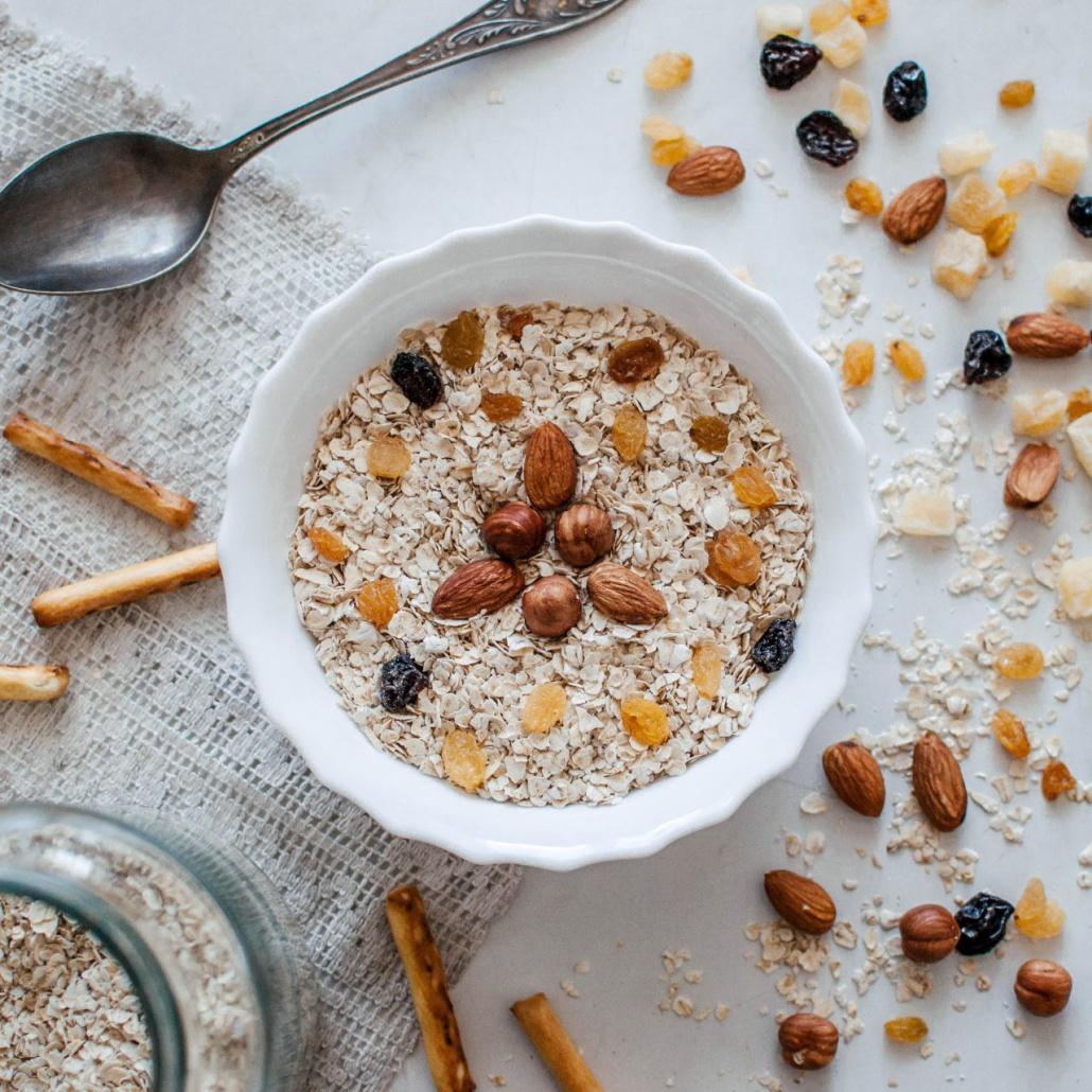 bowl of porridge with nuts